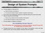 design of system prompts