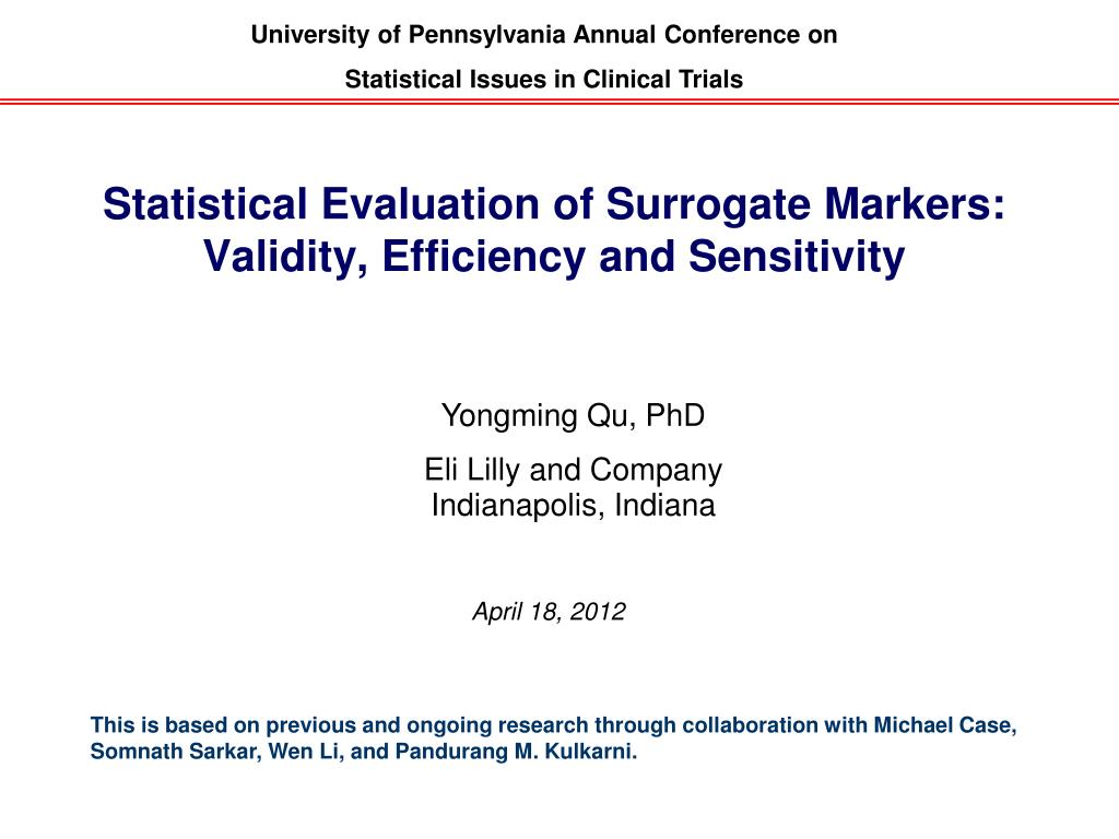 statistical evaluation of surrogate markers validity efficiency and sensitivity l.