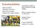 evaluating statistics