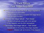 air pack failure first stage regulator