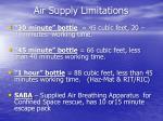 air supply limitations