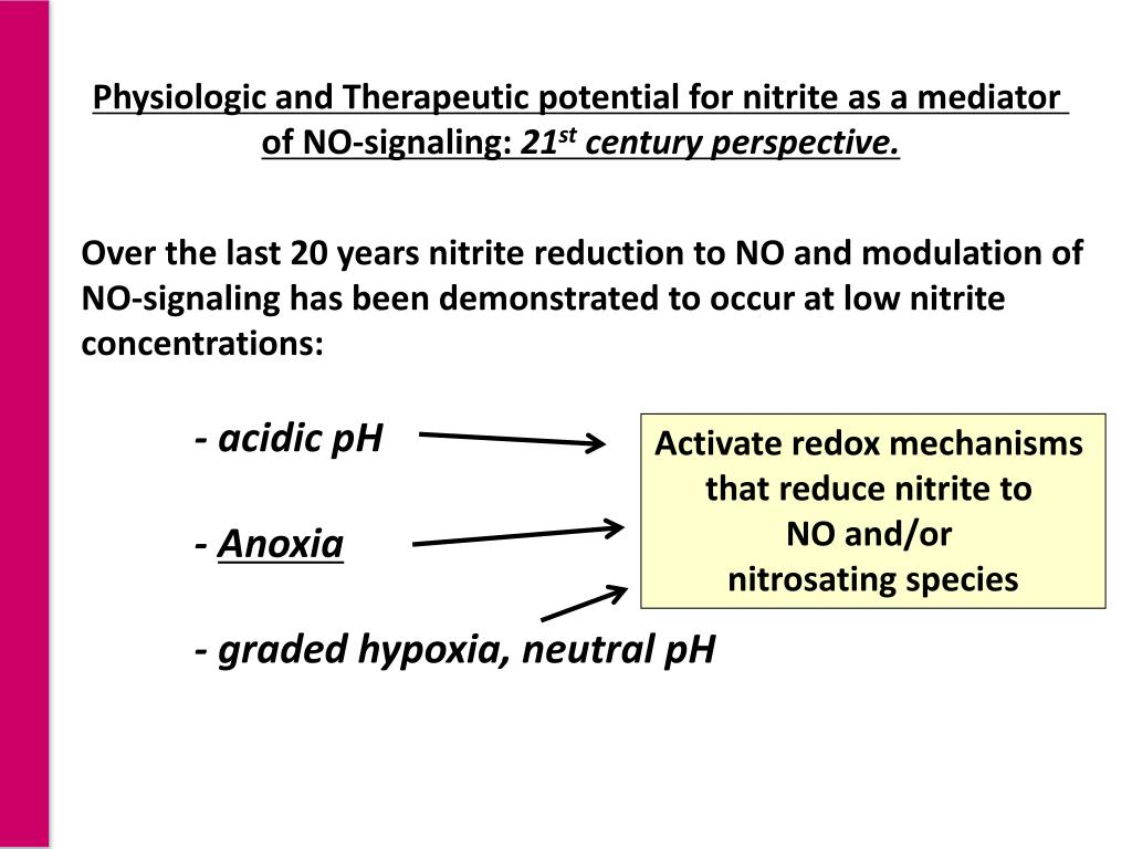 Physiologic and Therapeutic potential for nitrite as a mediator