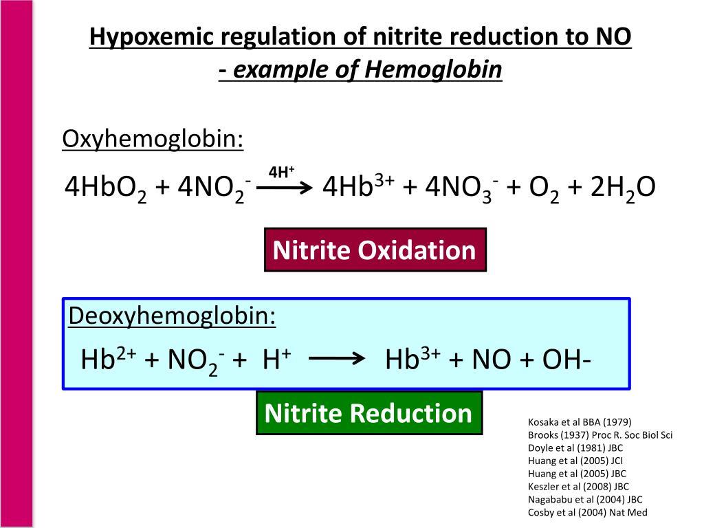Hypoxemic regulation of nitrite reduction to NO