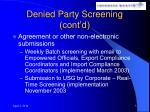 denied party screening cont d