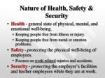 nature of health safety security