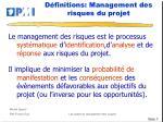 d finitions management des risques du projet