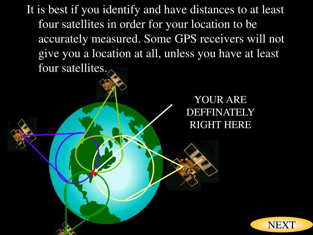 It is best if you identify and have distances to at least four satellites in order for your location to be accurately measured. Some GPS receivers will not give you a location at all, unless you have at least four satellites.