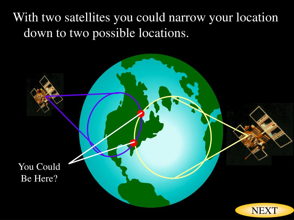 With two satellites you could narrow your location down to two possible locations.