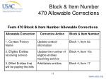 block item number 470 allowable corrections13
