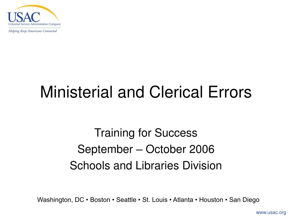 ministerial and clerical errors l.