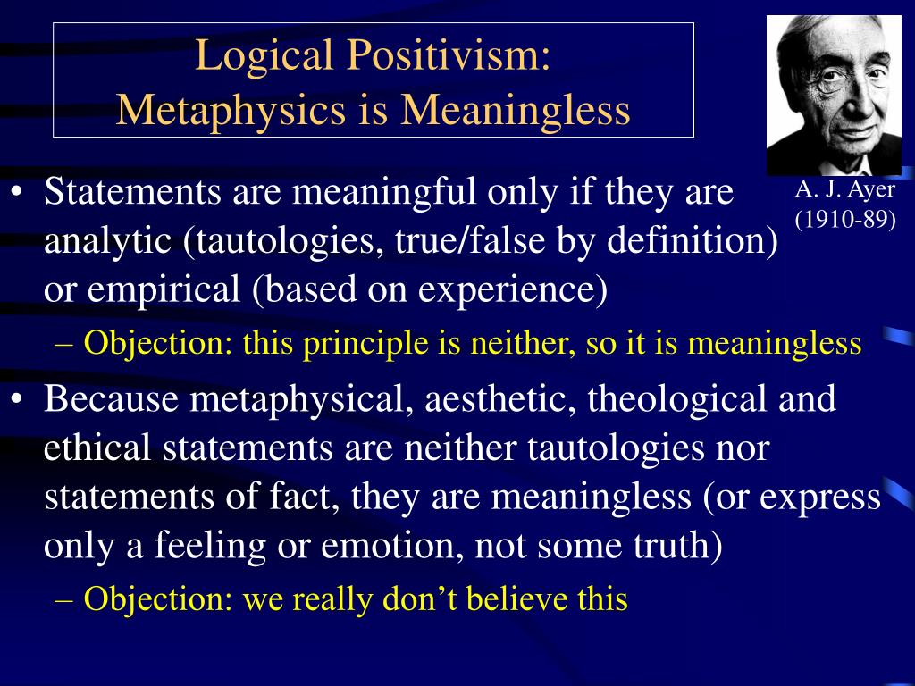 logical positivism metaphysics is meaningless l.