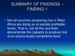 summary of findings finding 1