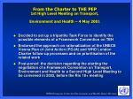 from the charter to the pep 1st high level meeting on transport environment and health 4 may 2001