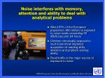 noise interferes with memory attention and ability to deal with analytical problems