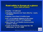 road safety in europe at a glance source who and unece