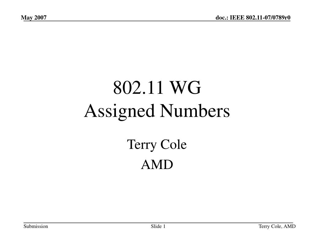 802 11 wg assigned numbers l.