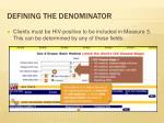 defining the denominator