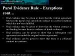 parol evidence rule exceptions cont