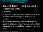 types of terms conditions and warranties cont