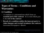 types of terms conditions and warranties