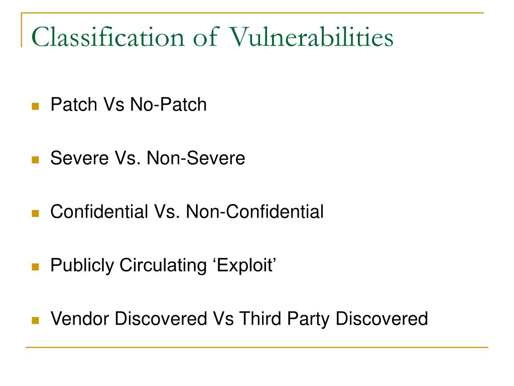 Classification of Vulnerabilities