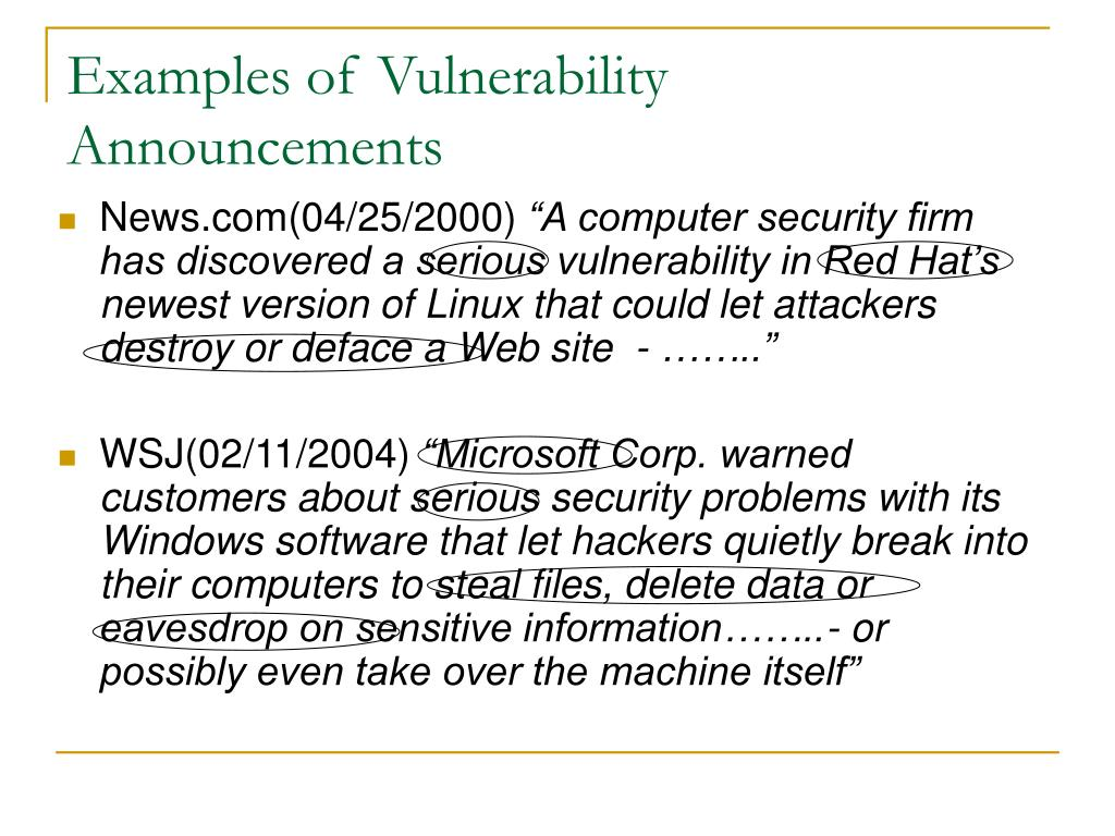 Examples of Vulnerability Announcements