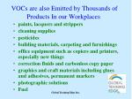 vocs are also emitted by thousands of products in our workplaces