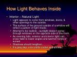 how light behaves inside