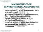management of environmental compliance