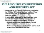 the resource conservation and recovery act