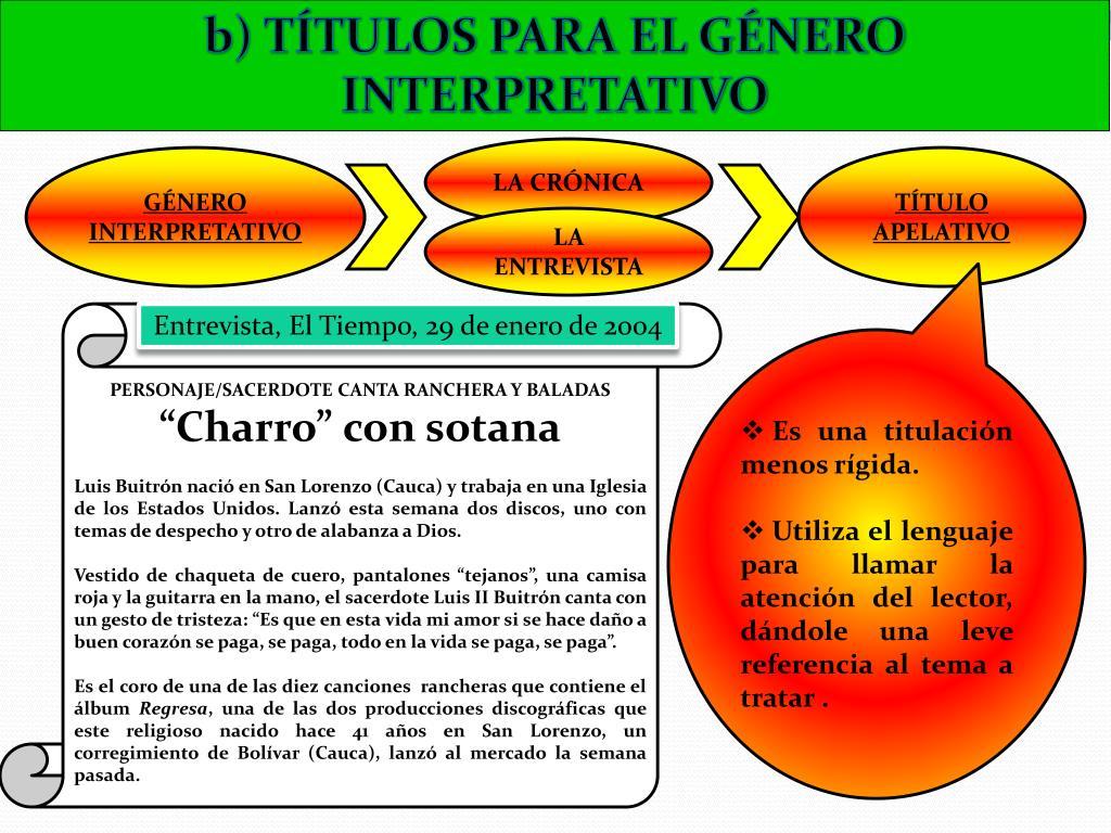 b) TÍTULOS PARA EL GÉNERO INTERPRETATIVO