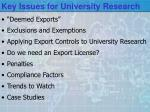 key issues for university research