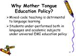 why mother tongue education policy