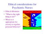 ethical considerations for psychiatric nurses