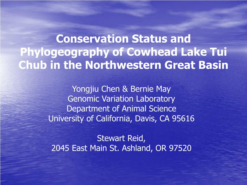 conservation status and phylogeography of cowhead lake tui chub in the northwestern great basin l.