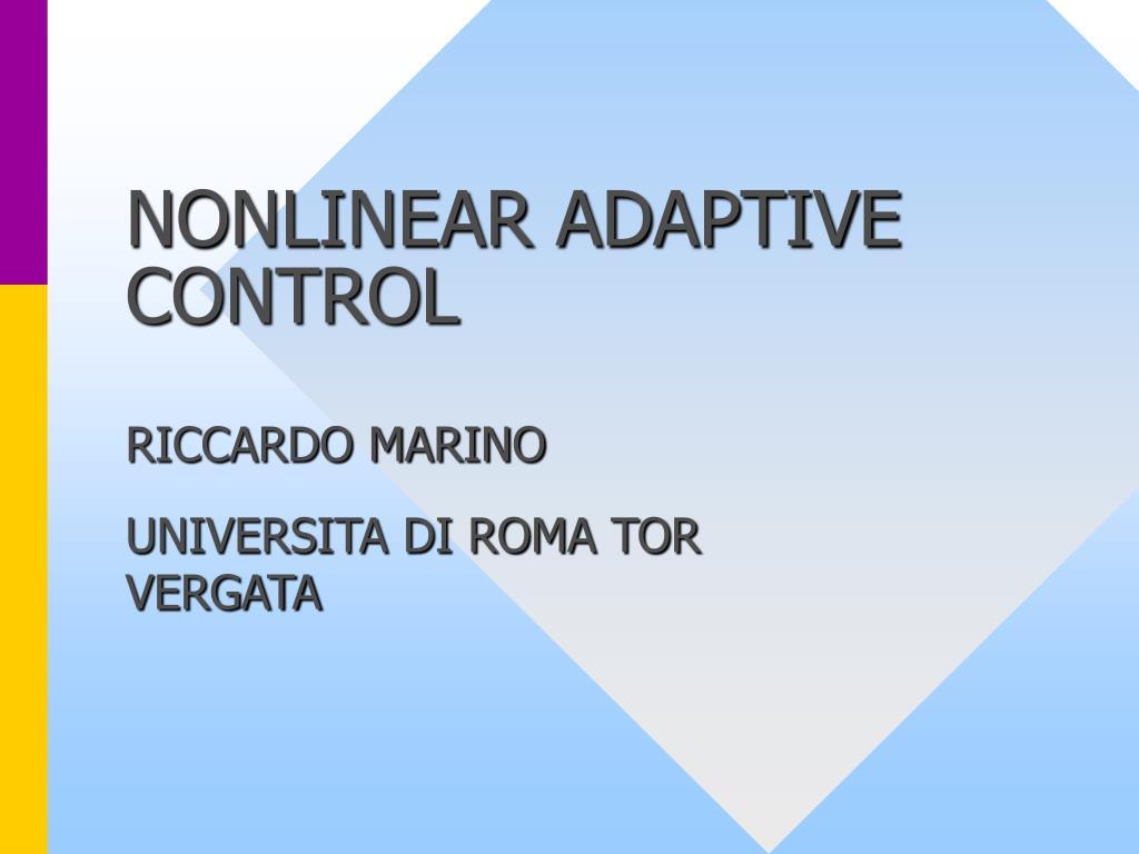 nonlinear adaptive control l.