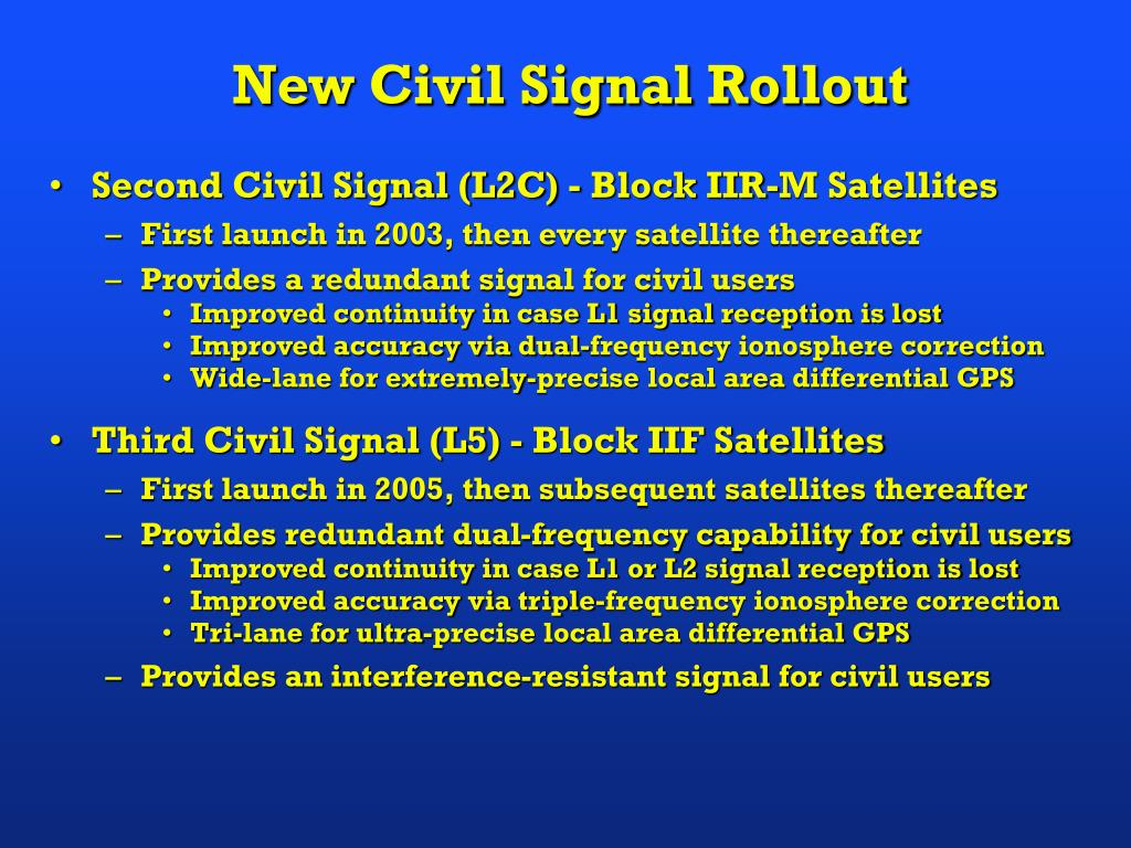 Second Civil Signal (L2C) - Block IIR-M Satellites