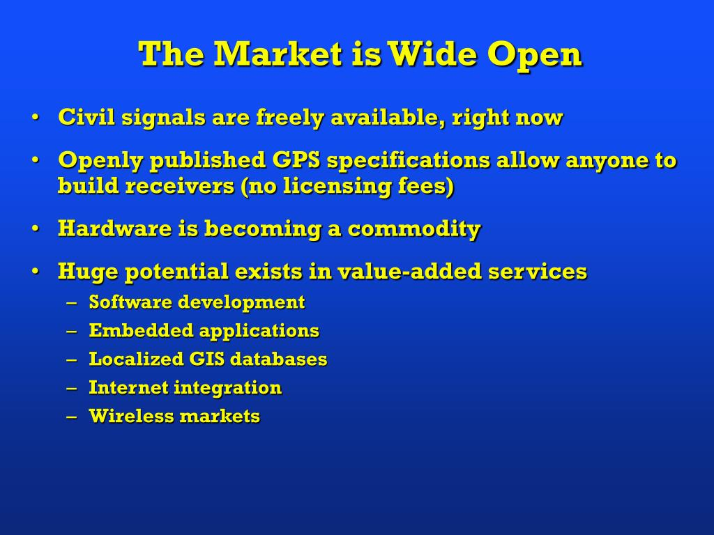 The Market is Wide Open