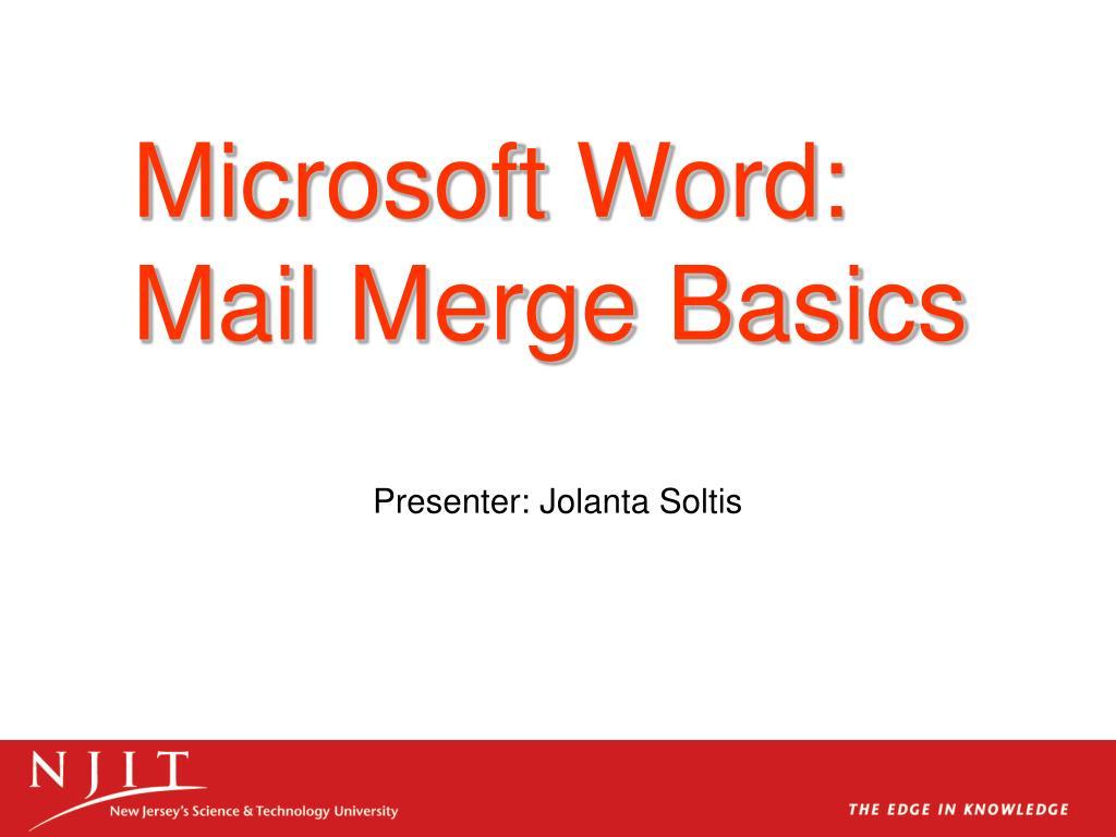 microsoft word mail merge basics l.
