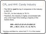 cr and hhi candy industry