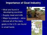 importance of goat industry