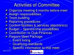 activities of committee