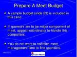 prepare a meet budget