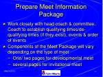prepare meet information package