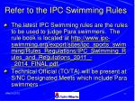 refer to the ipc swimming rules