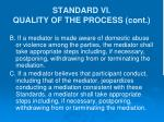 standard vi quality of the process cont