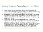 eating kosher according to the bible