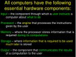 all computers have the following essential hardware components