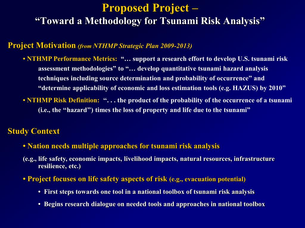 proposed project toward a methodology for tsunami risk analysis l.