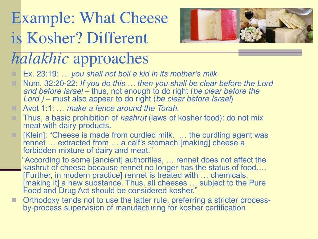 Example: What Cheese is Kosher? Different